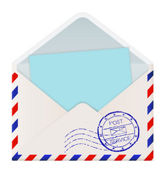 Open international mail envelope with blue paper vector