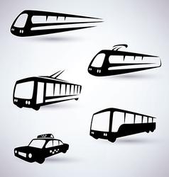 public city transport icons set vector image vector image