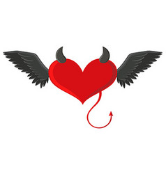 Red heart with devil horns and tail vector