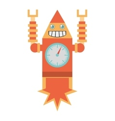 robot clock laungh rocket smile vector image