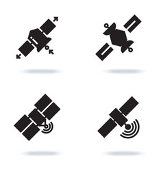 satellite and orbit communication icons isolated vector image vector image