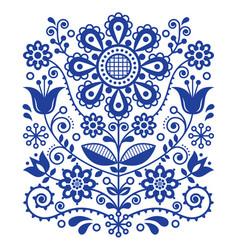 Scandinavian folk art pattern floral retro vector