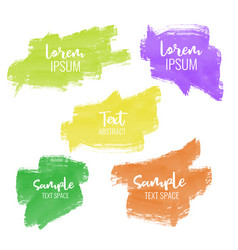 set of five colorful paint brush stroke banners vector image vector image