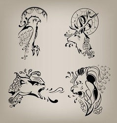 Set of patterns of wild animals vector