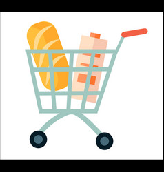 shopping cart with product icon vector image
