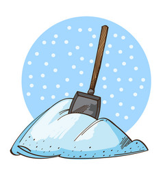 Shovel in a pile of snow isolated on white vector