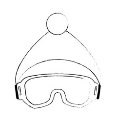 Ski googles and hat vector