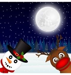 Snowman and reindeer looking in the woods vector