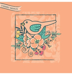 t shirt design with bird and flowers pink vector image vector image