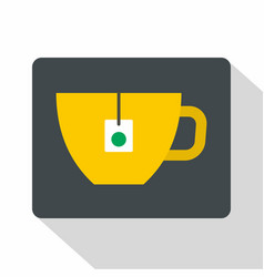yellow tea cup with teabag icon flat style vector image vector image