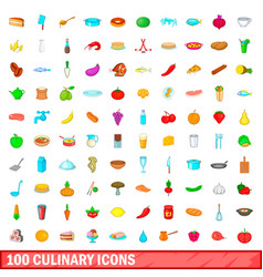 100 culinary icons set cartoon style vector