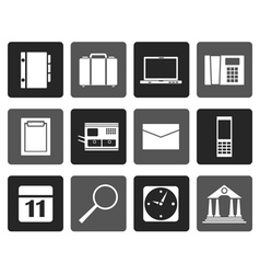 Flat business office and mobile phone icons vector