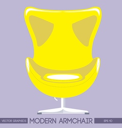 Yellow modern armchair over pink background Digita vector image