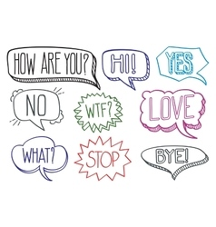 Vintage hand drawn speech bubbles with dialog vector