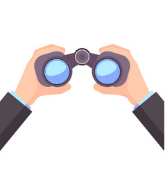 Binocular in hand business vision vector