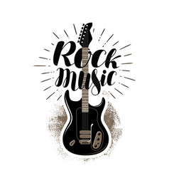 Rock music lettering guitar fretboard label vector