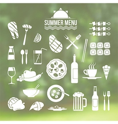 Icon set summer menu vector