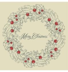Christmas wreath frame vector image