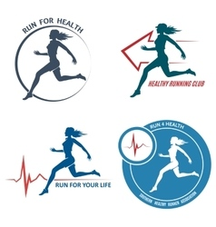 Healthy run emblem and logo set vector