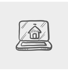 Online house shopping sketch icon vector