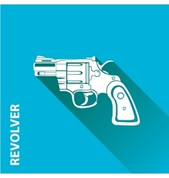 Vintage pistol gun icon on blue vector