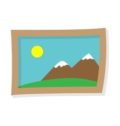 Painting of mountains and the sun vector