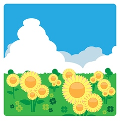 Sunflower meadow in sunny day vector