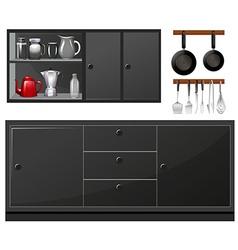 Kitchen appliances in black color vector
