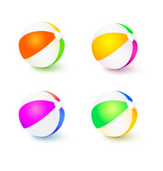 A set of colored inflatable beach balls realistic vector