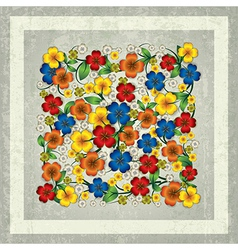 Abstract spring floral ornament on grey grunge vector