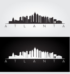 atlanta usa skyline and landmarks silhouette vector image vector image