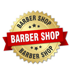 Barber shop round isolated gold badge vector