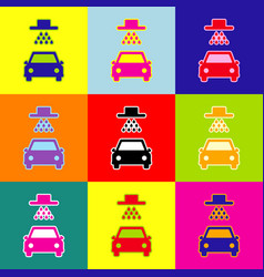 Car wash sign pop-art style colorful vector