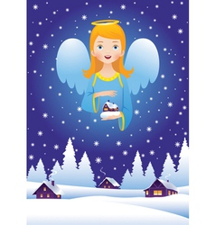 Christmas angel in the sky vector image vector image