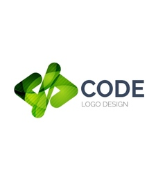 Code icon logo design made of color pieces vector