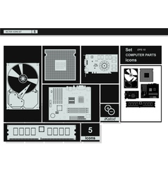 Collection icons computer hardware icons vector