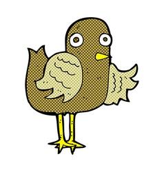 comic cartoon bird waving wing vector image
