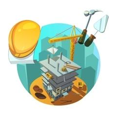 Construction retro cartoon vector