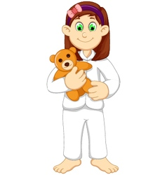Cute sleepy girl cartoon holding teddy bear vector