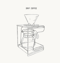 Filter drip coffee machine sketch vector