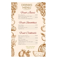 Fruit juice cocktail smoothie drinks menu design vector image