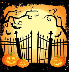 Halloween banner - laughing pumpkins on cemetery vector