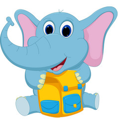 Happy elephant with school bag vector