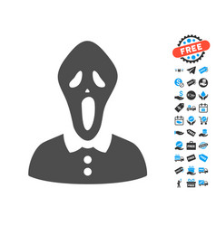 Horror flat icon with free bonus elements vector