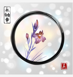 Iris flowers hand drawn with ink in asian style in vector