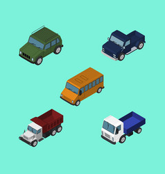 Isometric car set of armored lorry suv and other vector