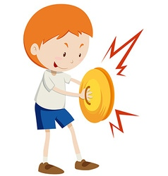 Little boy playing cymbals vector image vector image