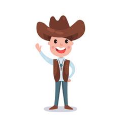 little boy wearing cowboy costume american vector image