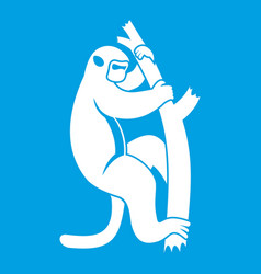 Macaque on a tree icon white vector