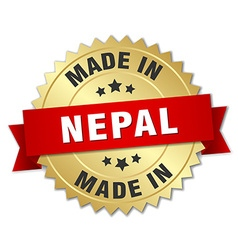 made in Nepal gold badge with red ribbon vector image vector image